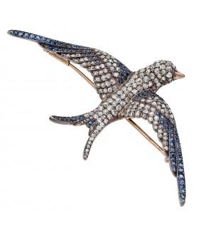 Broche Oiseau, or, argent,diamants et saphirs