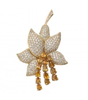 Yellow sapphires, diamonds and gold brooch
