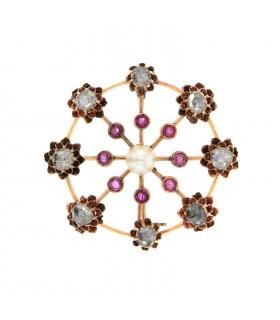 Broche or, rubis, perle et diamants