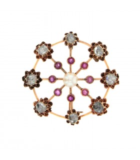 Cultured pearl, rubies, diamonds and gold brooch