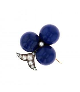 Broche Trèfle or, argent, lapis lazuli et perles