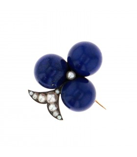 Lapis lazuli, pearls and gold brooch