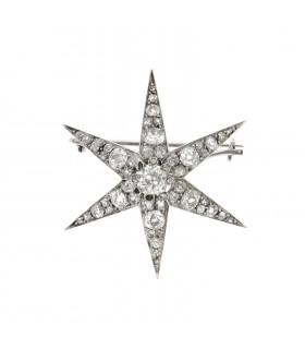Broche étoile diamants