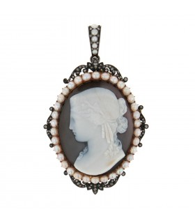 Cameo, cultured pearls, gold and silver pendant