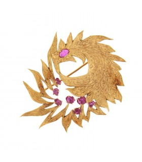 Rubies and gold brooch