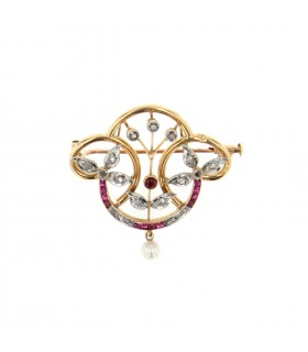 Red stones, pearl, diamonds and gold brooch