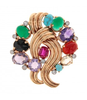 Multi stones and gold brooch