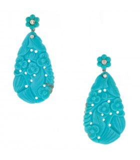 Diamonds, turquoise and gold earrings