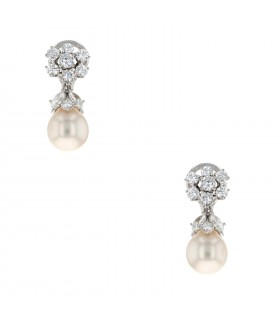 Diamonds, cultured pearl and gold earrings