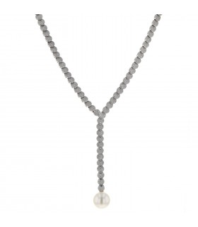 Piaget diamonds, cultured pearl and gold necklace