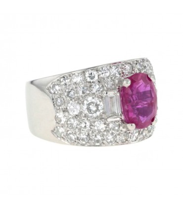 Diamonds, ruby and gold ring