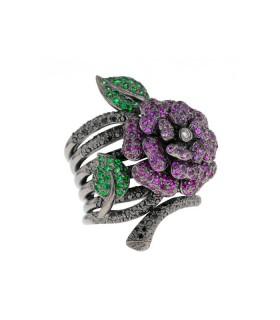 Rubies, tsavorite garnet, black diamonds and gold ring