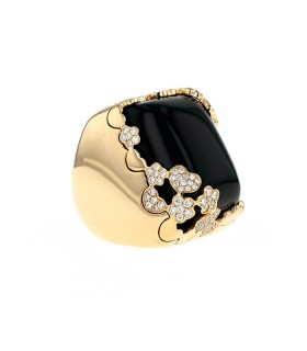 Pasquale Bruni onyx, diamonds and gold ring