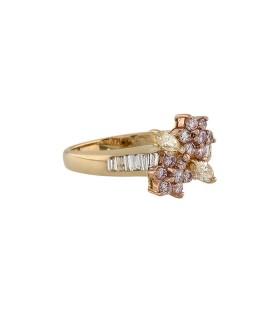 Bague or, diamants roses, jaunes et blancs