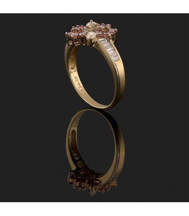 Pink, yellow, white diamonds and gold ring