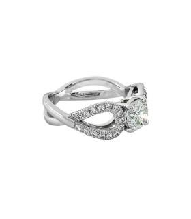 Bague solitaire platine et diamants - Diamant 1,03 ct