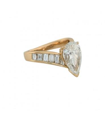 Bague or et diamants - Certificat GIA 3,02 cts F SI2