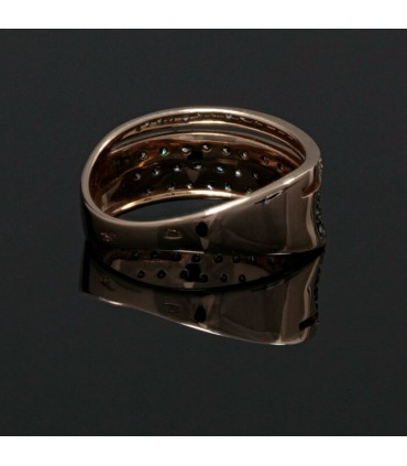 Brown, white diamonds and gold ring
