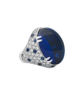 Tanzanite, sapphires, diamonds and platinum ring