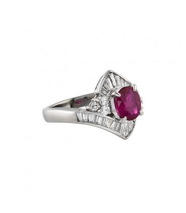 Ruby, diamonds and platinum ring