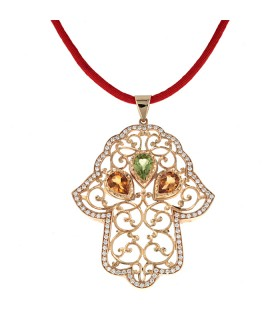 Diamonds, citrine, perridot and gold pendant