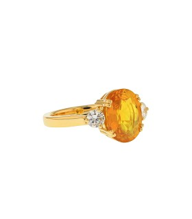 Bague or, saphir jaune et diamants