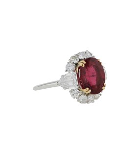 Diamonds, rubelite and gold ring