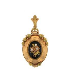 Broche pendentif or, onyx et perles