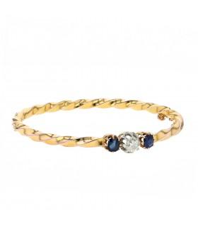 Diamond, sapphires and gold bracelet