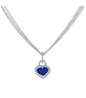 Sapphire, diamonds and gold necklace