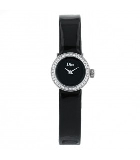 Dior La Mini D stainless steel and diamonds watch