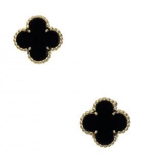 Van Cleef & Arpels Vintage Alhambra onyx and gold earrings