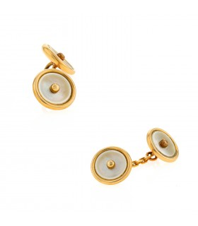 Mother of pearl and gold cufflink