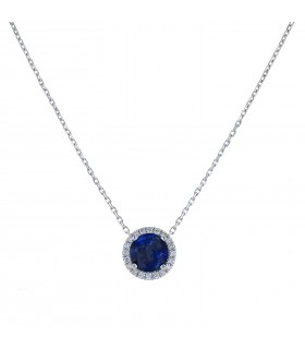 Diamonds, sapphire and gold necklace