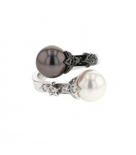 Chanel Comète diamonds, cultured pearls and gold ring