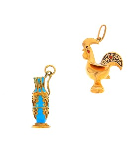 Gold and enamel charms
