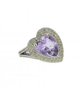 Mauboussin Subtile Raison amethyst, color sapphires and gold ring