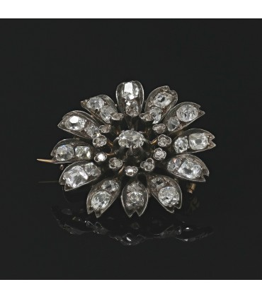 Diamonds, silver and gold brooch