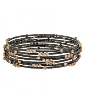 Bracelet acier, or et diamants