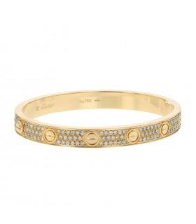 Cartier Love Pavé diamonds and gold bracelet Size 17