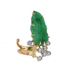Repossi diamonds, green stone and gold ring