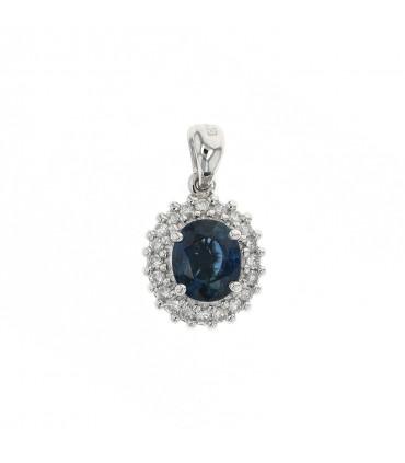 Diamonds, sapphire and gold pendant