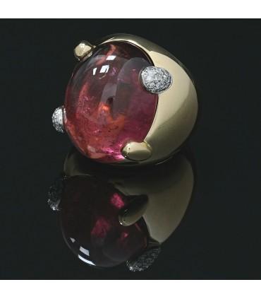 Bague or, diamants et tourmaline