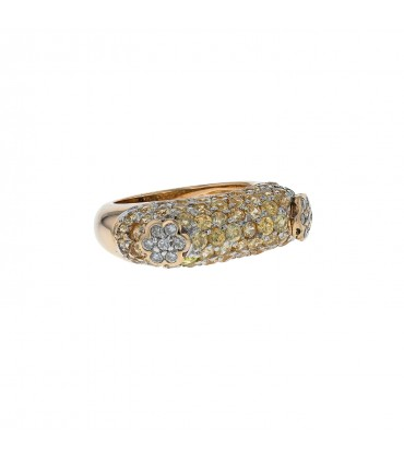 Diamonds, yellow stones and gold ring