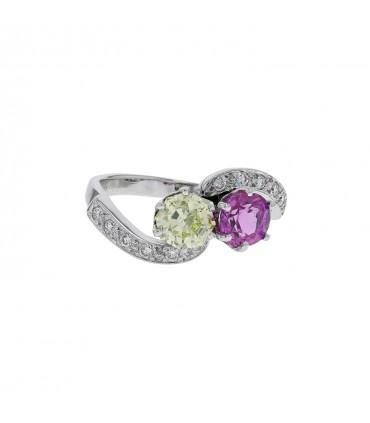 Diamonds, yellow diamond, pink sapphire and gold ring