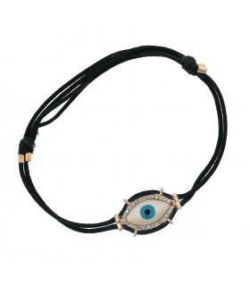 Bracelet or, nacre et diamants