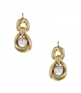 Cultured pearls and gold earrings