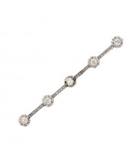 Broche barrette or et diamants