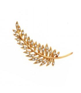 Broche pendentif plume or et diamants