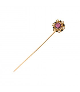Amethyst, cultured pearls, enamel and gold pin